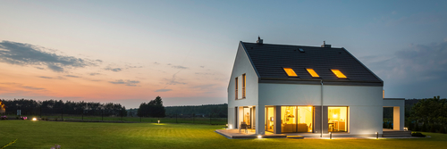Panoramic,Photo,Of,Modern,House,With,Outdoor,And,Indoor,Lighting,